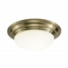 Large Barclay Flush Bathroom Ceiling Light Antique Brass