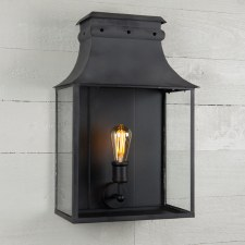 Bath Wall Lantern Large Black