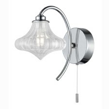 Bathroom Wall Light Chrome Clear Glass Shade