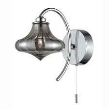 Bathroom Wall Light Chrome Grey Smoke Glass Shade