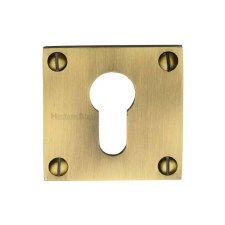 Heritage BAU1558 Square Euro Escutcheon Antique Brass Lacquered