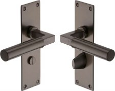Heritage Bauhaus Bathroom Door Handles BAU7330 Matt Bronze