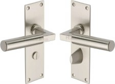 Heritage Bauhaus Bathroom Door Handles BAU7330 Satin Nickel