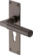 Heritage Bauhaus Euro Lock Door Handles BAU7348 Matt Bronze