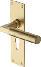 Heritage Bauhaus Euro Lock Door Handles BAU7348 Satin Brass Lacq