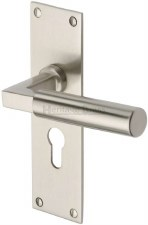 Heritage Bauhaus Euro Lock Door Handles BAU7348 Satin Nickel