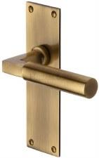 Heritage Bauhaus Latch Door Handles BAU7310 Antique Brass Lacq