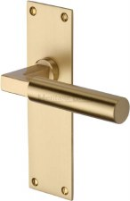Heritage Bauhaus Latch Door Handles BAU7310 Satin Brass Lacq