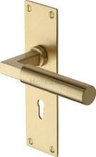 Heritage Bauhaus Door Lock Handles BAU7300 Satin Brass Lacq