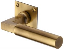 Heritage Bauhaus LP Sq Rose Door Handles BAU1926 Antique Brass Lacq