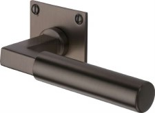 Heritage Bauhaus LP Sq Rose Door Handles BAU1926 Matt Bronze Lacq