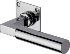 Heritage Bauhaus LP Sq Rose Door Handles BAU1926 Polished Chrome