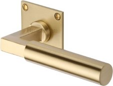 Heritage Bauhaus LP Sq Rose Door Handles BAU1926 Satin Brass Lacq