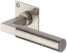 Heritage Bauhaus LP Sq Rose Door Handles BAU1926 Satin Nickel