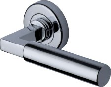 Heritage Bauhaus Round Rose Door Handles V2259 Polished Chrome