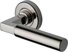 Heritage Bauhaus Round Rose Door Handles V2259 Polished Nickel