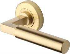 Heritage Bauhaus Round Rose Door Handles V2259 Satin Brass Lacq