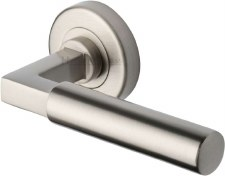 Heritage Bauhaus Round Rose Door Handles V2259 Satin Nickel