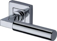 Heritage Bauhaus Sq Rose Door Handles SQ1926 Polished Chrome