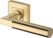Heritage Bauhaus Sq Rose Door Handles SQ1926 Satin Brass Lacq