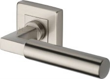 Heritage Bauhaus Sq Rose Door Handles SQ1926 Satin Nickel
