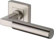 Heritage Bauhaus Sq Rose Door Handles SQ1926 Satin Nickel