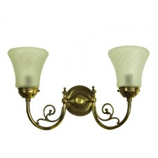 Bayswater Double Wall Light, Light Antique Brass