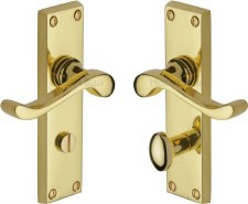 Heritage Bedford Bathroom Door Handles V815 Polished Brass Lacquered