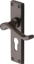 Heritage Bedford Euro Lock Door Handles V807 Matt Bronze