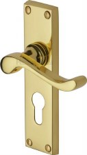 Heritage Bedford Euro Lock Door Handles V807 Polished Brass Lacquered