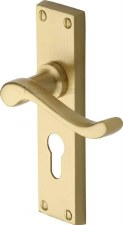 Heritage Bedford Euro Lock Door Handles V807 Satin Brass Lacquered