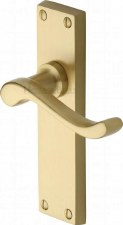 Heritage Bedford Latch Door Handles V803 Satin Brass Lacquered