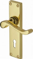 Heritage Bedford Door Lock Handles V810 Polished Brass Lacquered