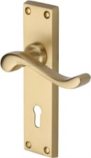 Heritage Bedford Door Lock Handles V810 Satin Brass Lacquered