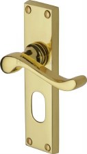 Heritage Bedford Oval Lock Door Handles V805 Polished Brass Lacquered