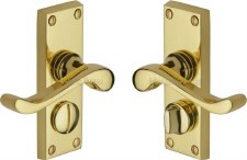Heritage Bedford Privacy Door Handles V825 Polished Brass Lacquered