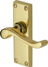 Heritage Bedford Short Plate Door Handles V800 Polished Brass Lacquered