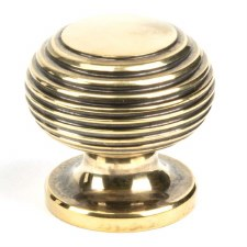 From The Anvil Beehive Cabinet Knob Aged Brass Small