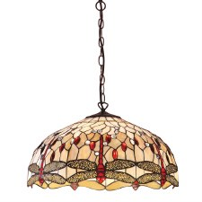 Interiors 1900 Beige Dragonfly Large Tiffany Ceiling Pendant Light