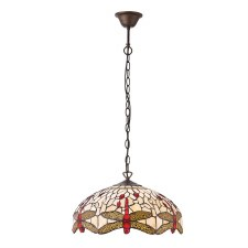 Interiors 1900 Beige Dragonfly Medium Tiffany Ceiling Pendant Light