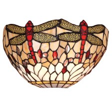 Interiors 1900 Beige Dragonfly Tiffany Wall Light
