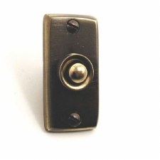 Aston Door Bell Push Rectangular Antique Brass Unlacquered