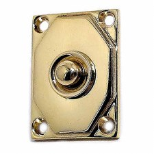 Aston Door Bell Push Art Deco Polished Brass Unlacquered