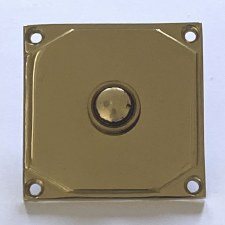 Aston Door Bell Push Art Deco 9478 Polished Brass Unlacquered