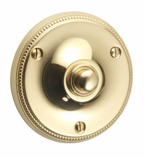 "Regency Princess Bell Push 3.1/2"" Polished Brass Unlacquered"