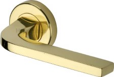 Heritage Bellagio Rnd Rose Door Handles V2015 Polished Brass Lacq
