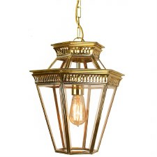Bevelled Glass Lantern Polished Brass Unlacquered