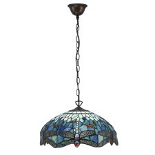 Interiors 1900 Blue Dragonfly Medium Tiffany Ceiling Pendant Light