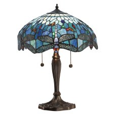 Interiors 1900 Blue Dragonfly Medium Tiffany Table Lamp