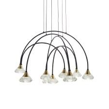 Bradstock 9 Light LED Pendant Matt Black & Brushed Brass